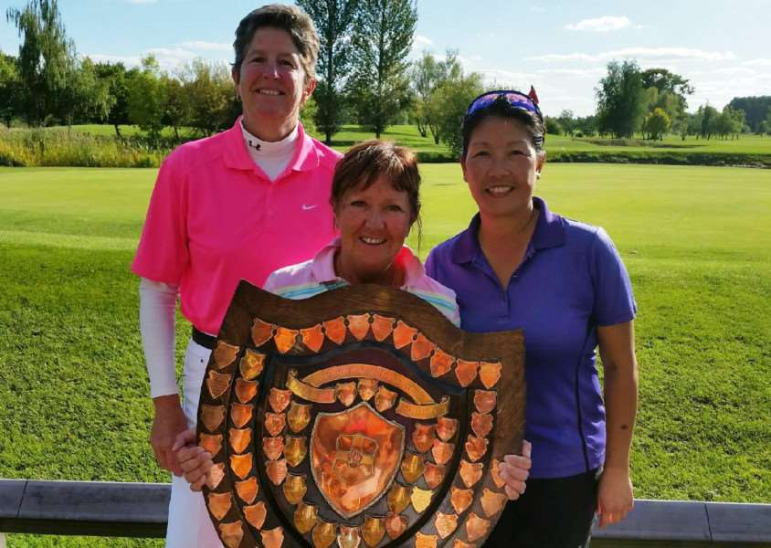 Belton Woods ladies' Lincs Shield winning team - Kim Davies, Steph Lee and Lisa Liu. Lesley Perrin was unavailable for the photo.