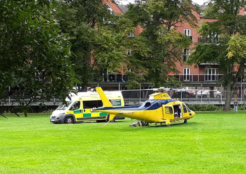 Air ambulance lands in The Paddock. Photo: Marion Ellis