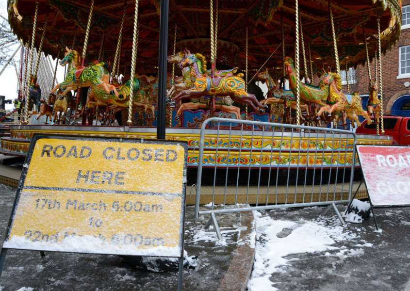 The fair remained closed yesterday due to the snowfall.