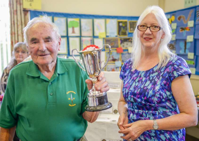 Barkston produce show. Pictured is Ray Wilson with Coun Linda Wootten.