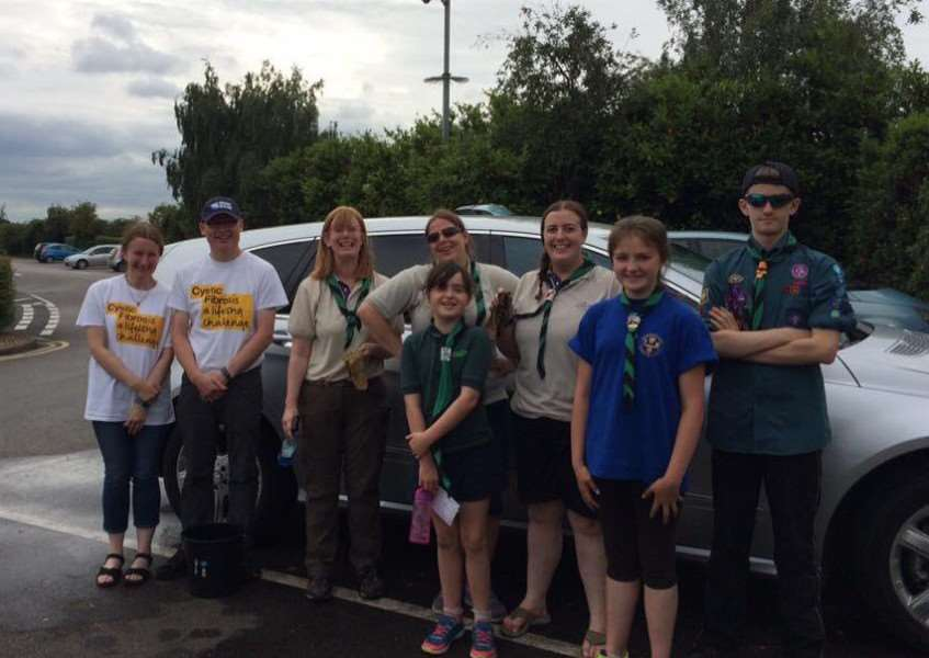 1st Ancaster Scouts and Cubs fund-raise with a car wash at Downtown.