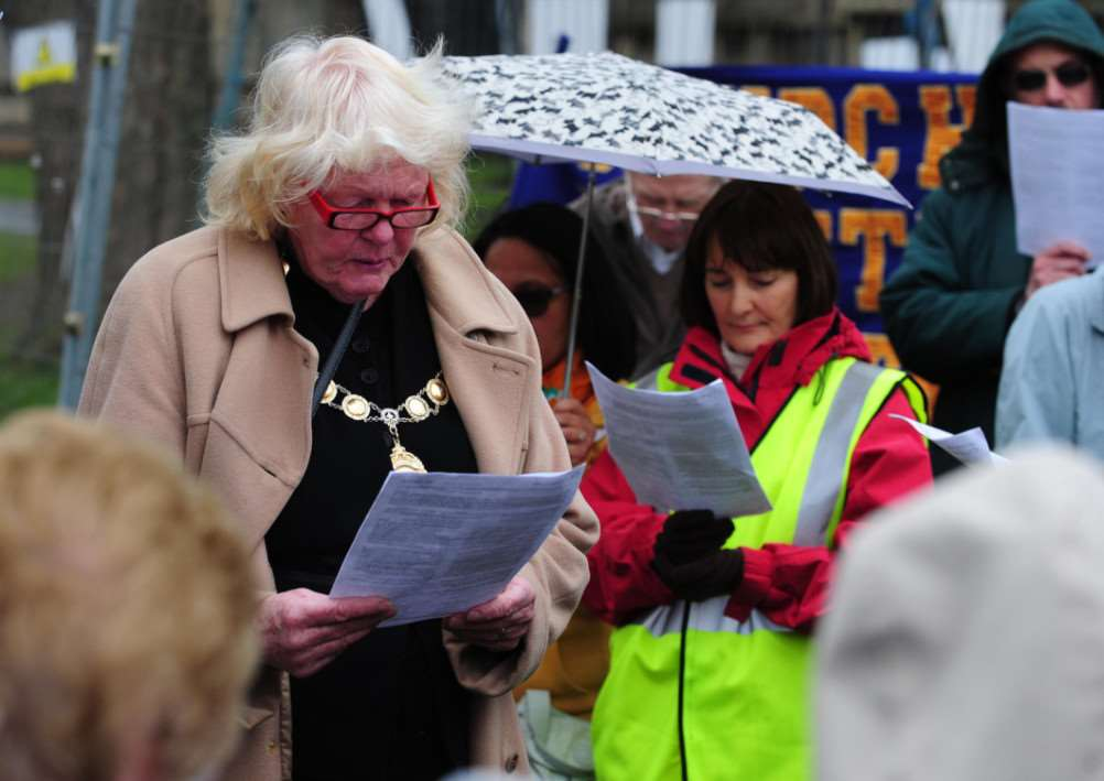 Mayoress of Grantham Anita Selby gives a reading during the March of Witness. TRP-3-4-2015-323A (8)