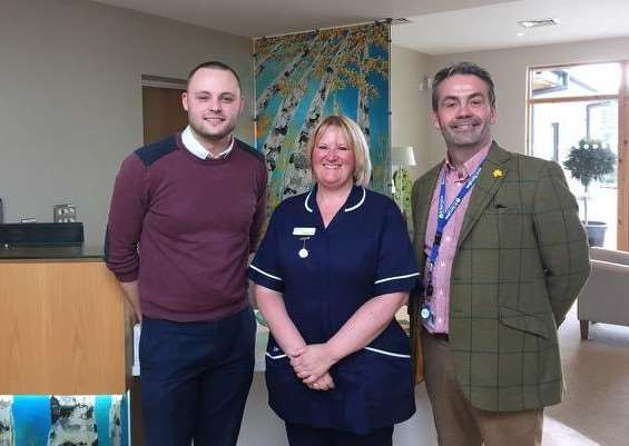 Ben Bradley met with St Barnabas Lincolnshire Hospice CEO Chris Wheway and lead nurse Cathie Alcock.