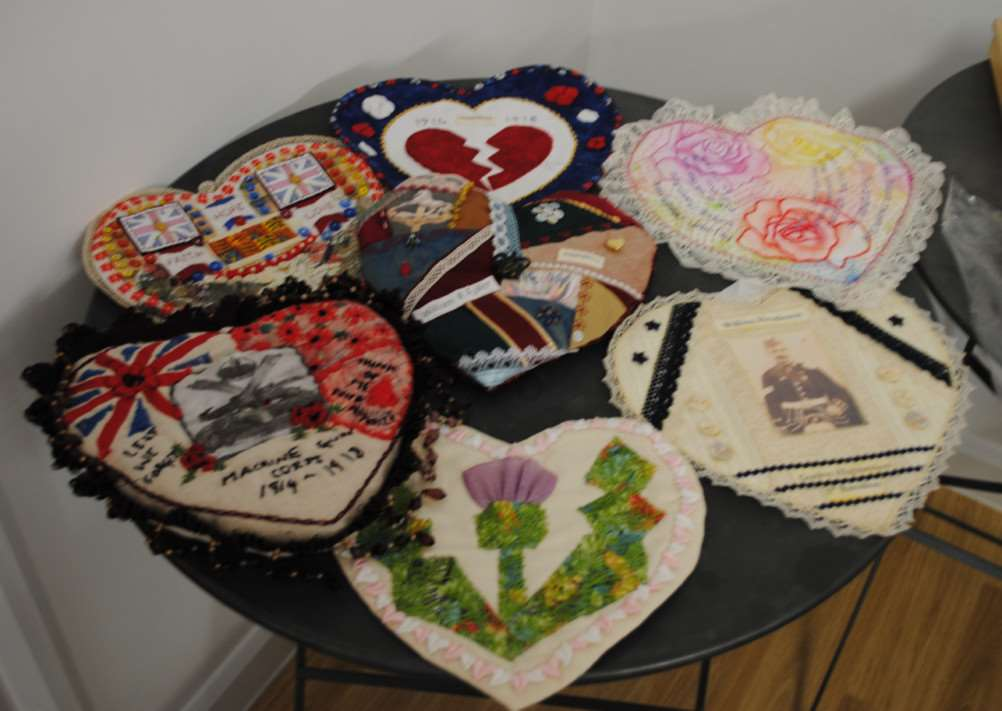 WWI themed hearts made by Layers of Stitch.