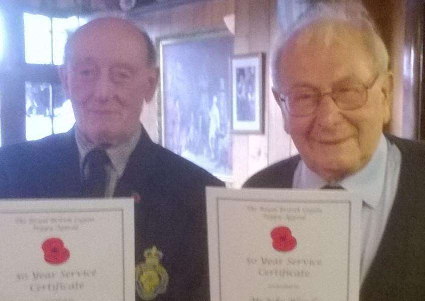 Hose and Harby branch of the Royal British Legion members Gordon Spence and John Blundy with their 50-year service certificates EMN-160524-094835001