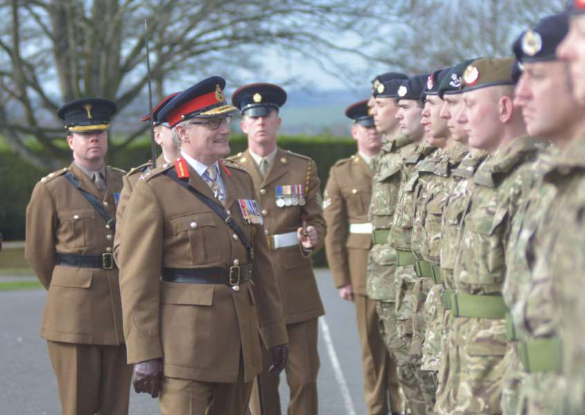Army Training Unit Grantham passout Parade held at PWG Barracks Grantham reviewing Officer Major General S Brooks-Ward CVO OBE TD VR EMN-160203-103113001