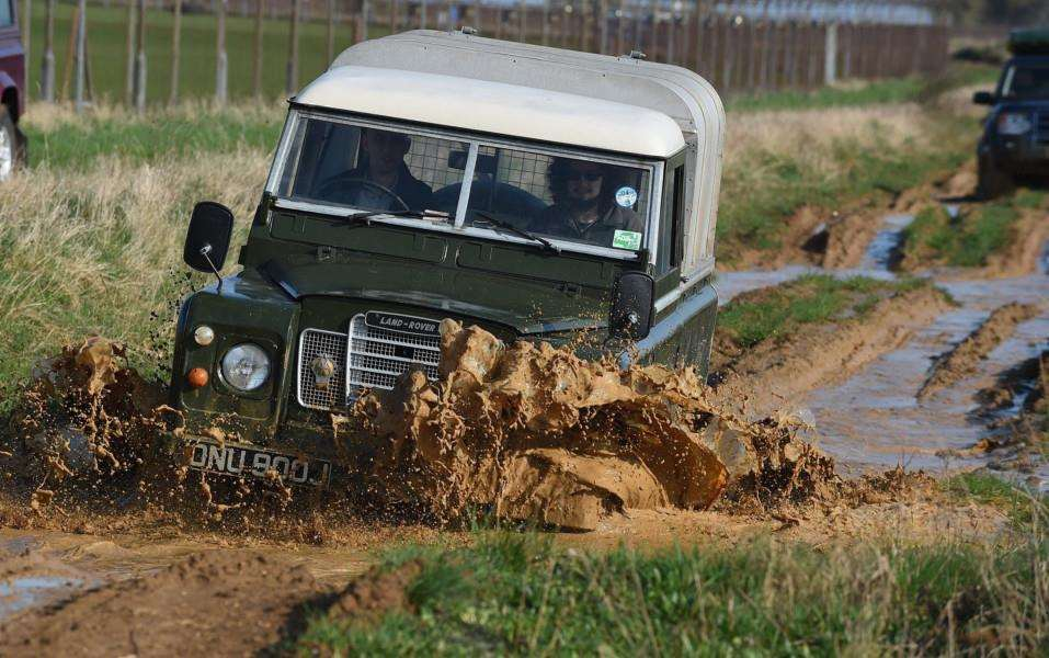 Land Rover takes on the muddy course at the barracks.