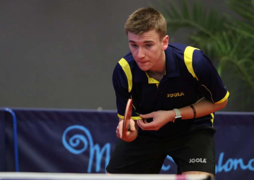 Matt Leete in action at the French Youth Open in Metz. Photo: ITTF