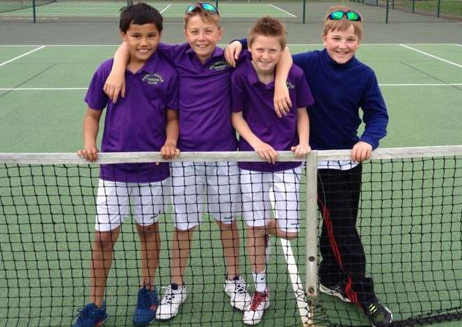 Horncastle Tennis Club under-12 team - Alex Armstrong, Ross Armstrong, Joe Sheldon and Charlie Tant. zY0KhxHuSou_5kWAMYuJ