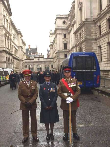 Representing King's School from left on Remembrance Sunday are, from left, Capt Peter Dunlop, Flt Lt Paula Barton and CSGT Shane Pulfrey.