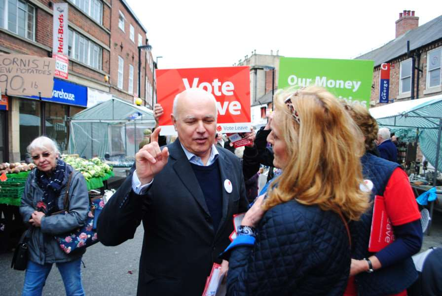 Iain Duncan Smith met people in Grantham market on his Vote Leave campaign.