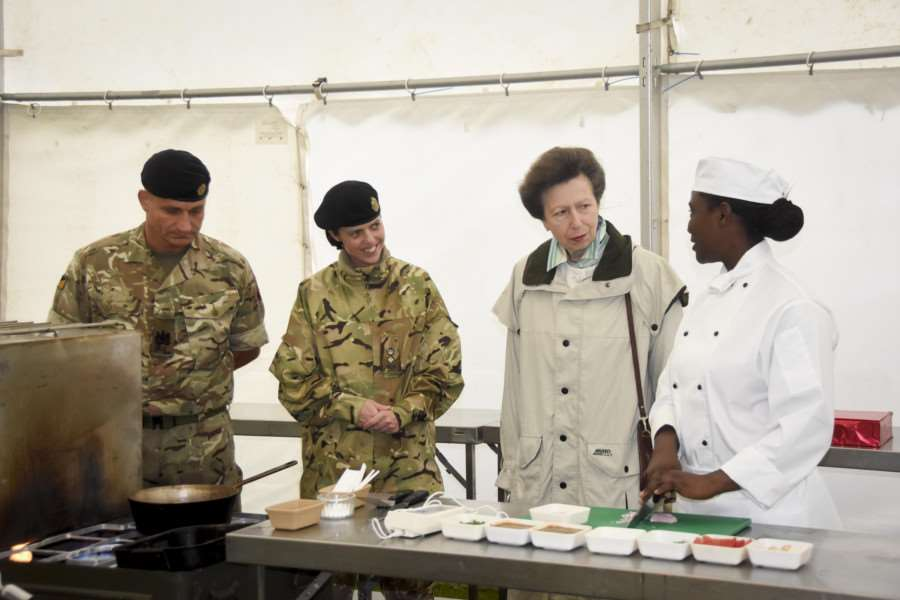 Her Royal Highness Princess Anne meets the chefs taking part in the culinary competition at the Prince William of Gloucester Barracks. Photo: Brian Gamble