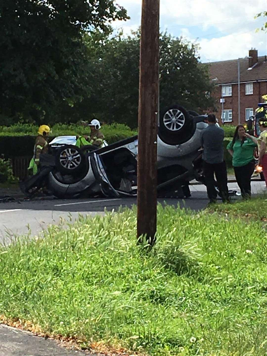 A car is on its roof following a collision on Harrowby Lane, Grantham. (2668976)