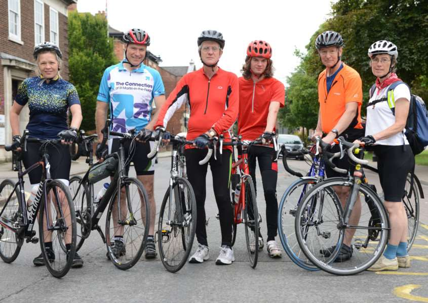 Some of the cyclists who took part in the Queen Eleanor Cycle Ride arrive at Grantham. Pictured from left are Julie McCrone, John McCrone, Richard Cox, Matthew Cox, Simon Cox, Judith Russenberger.