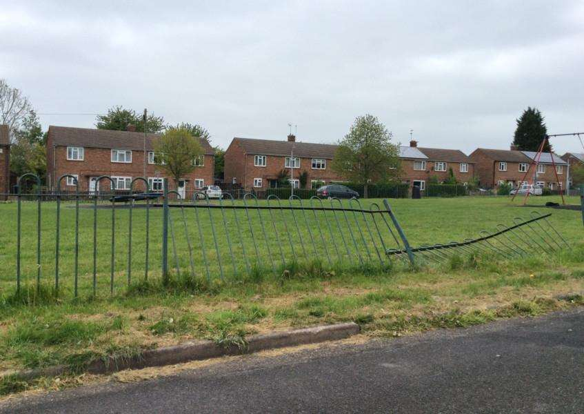 The railings in Princess Drive, Grantham, which were damaged.