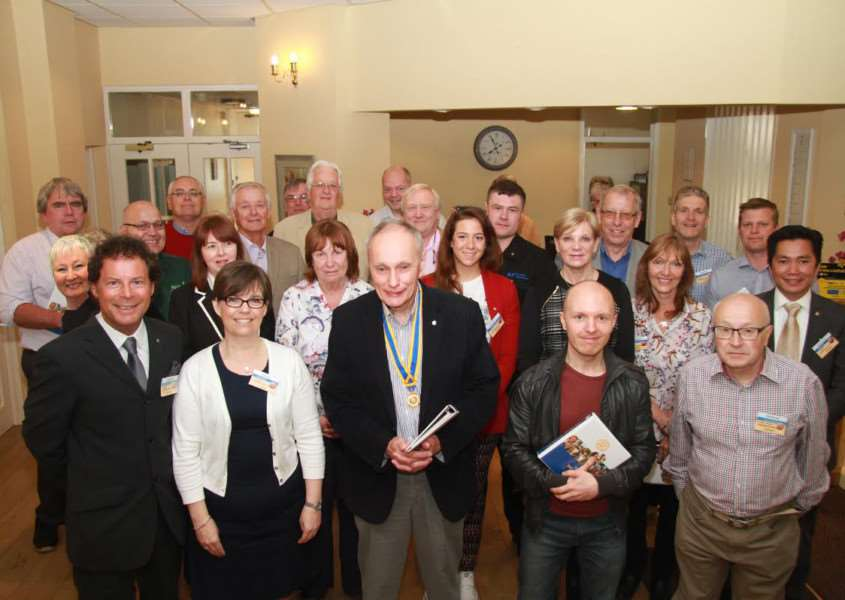 Members of the Grantham Sunrise Rotary Club, with president Andre Finney, centre. Photo: Roger Graves