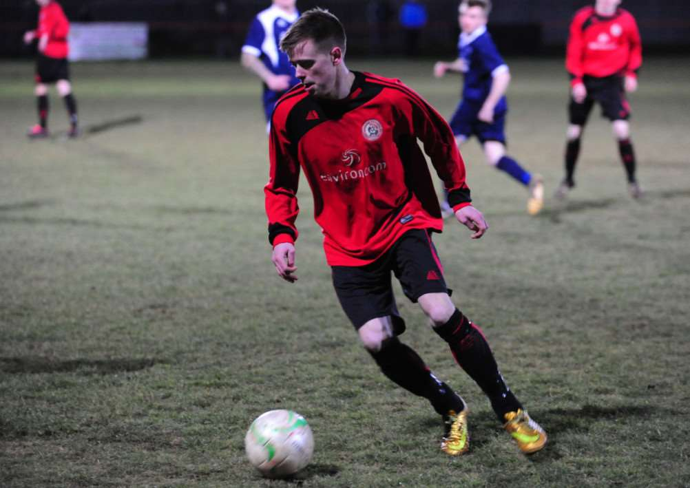 Scott Webb set up both of Harrowby's goals against Boston Town on Tuesday night. Photo: Toby Roberts