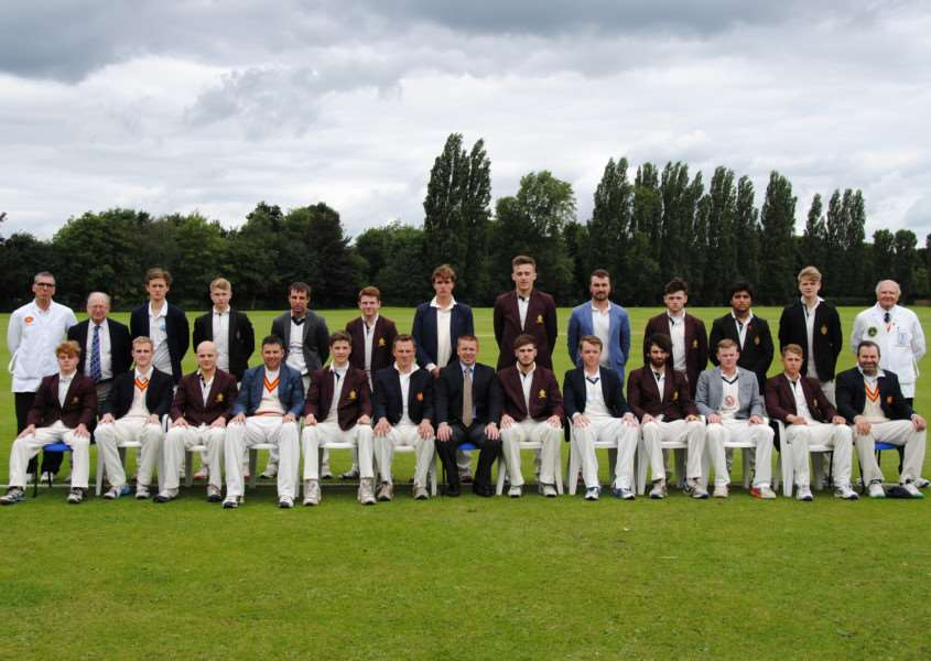 King's School and MCC pose for the camera prior to their annual match on Friday.