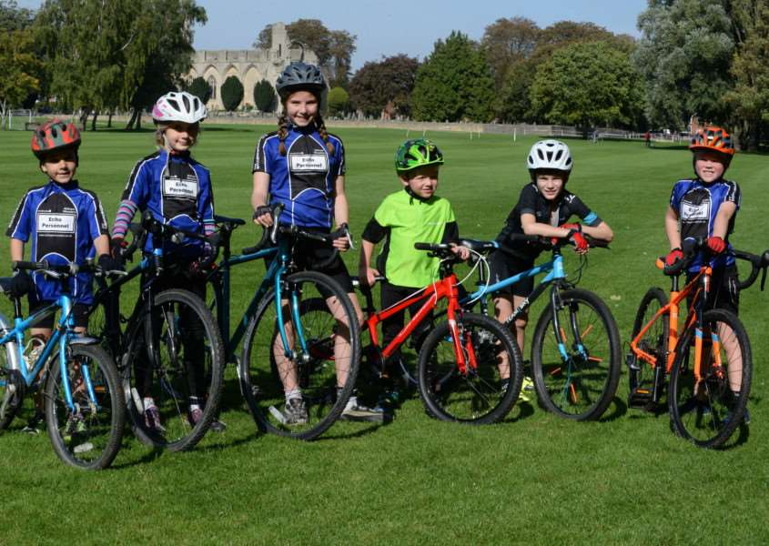 Ready to race: Witham Wheelers youngsters at Crowland. Photo: Alan East