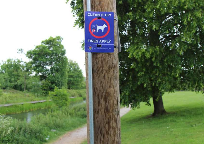 Grantham Clean and Green: Signs put up along the canal towpath in Grantham.