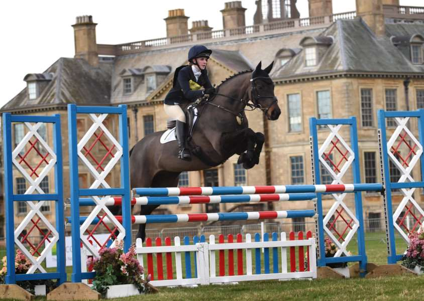 Alice Kilham, 17, of Ingoldsby, takes on one of the jumps at Belton Horse Trials.