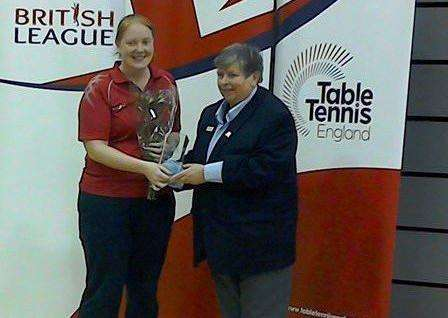 Hannah Winfield is presented with her WBL Player of the Weekend award by Karen Tonge MBE.