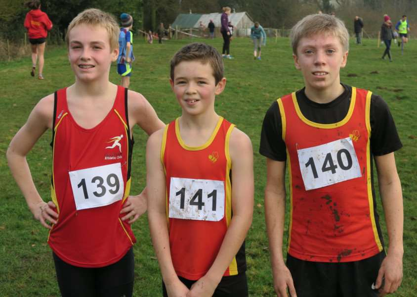 Lincs County Under-13 Boys champions, from left - Harry Denton, Ewan Rodell and Peter Braybrook.