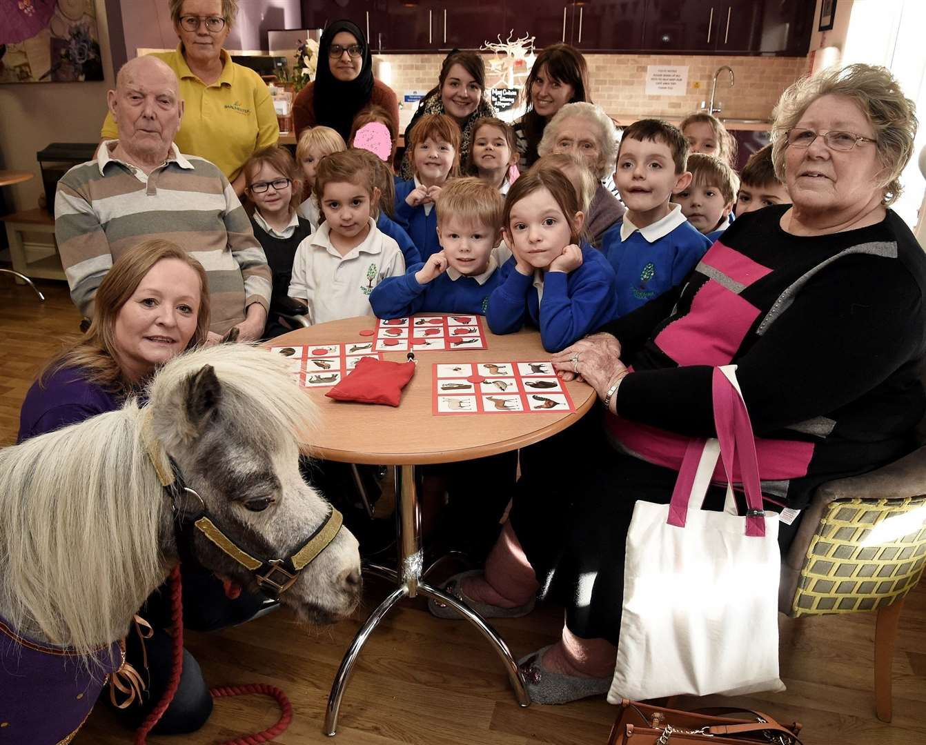 Pupils from Poplar Farm Primary School joined residents to meet Alfie the horse. (28494344)