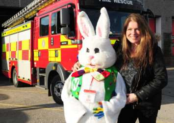 Newton the Easter Bunny with Tess Sheehy, who are preparing to embark on their fourth fund-raising tour.