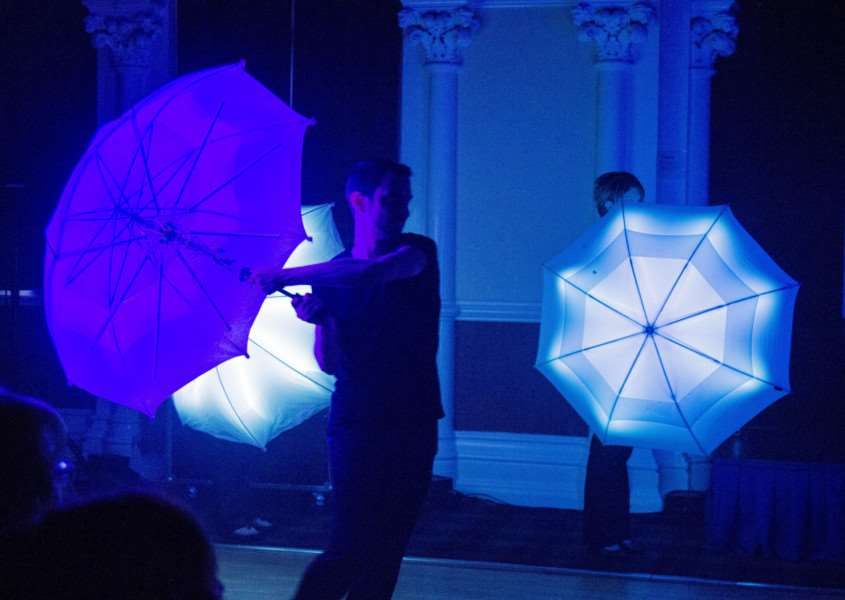 LED umbrellas at the launch of Grantham's third Gravity Fields Festival.