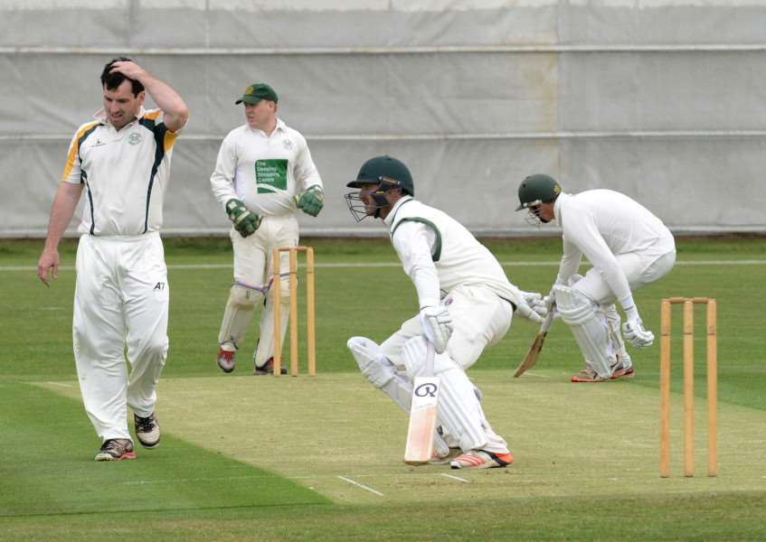 Grantham CC batsmen Dan Freeman and Ross Carnelly running at Gorse Lane on Saturday. Photo: Toby Roberts