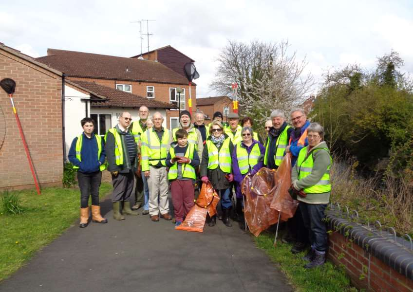 Grantham Rivercare volunteers gather for another community clean-up.