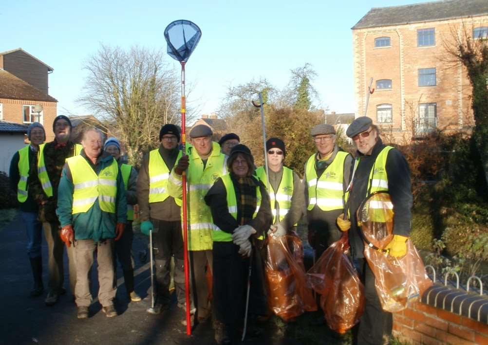 Grantham Rivercare volunteers gather to clean up the River Witham.