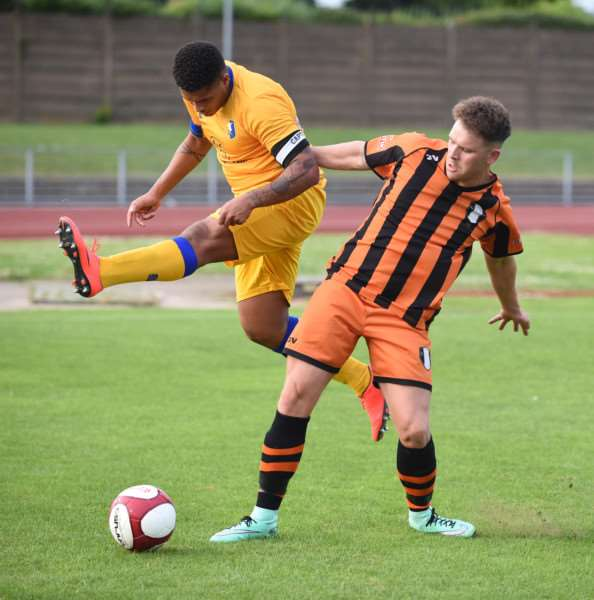 Grant Ryan (right) put the Gingerbreads 3-0 up against Mansfield Town on Tuesday night. Photo: Toby Roberts