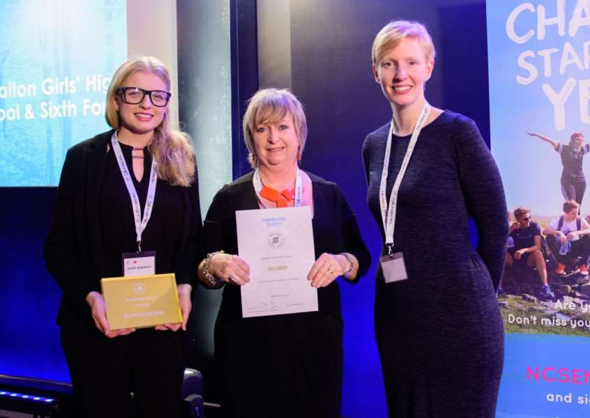 Jane Etherington (middle) collecying the Gold award for NCS engagement at the ceremony earlier this month