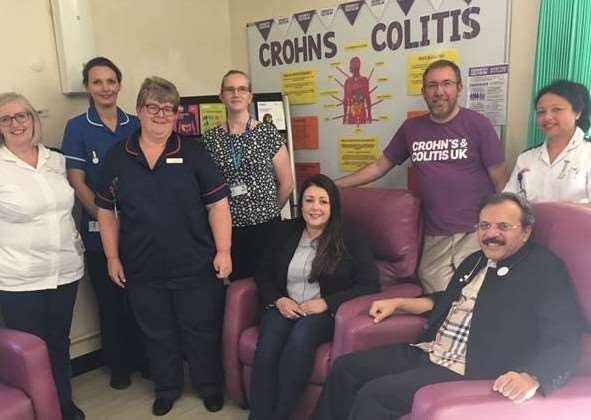 Grantham and District hospital day ward receives reclining chairs and an information stand donated by the local Crohn's and colitis support group.