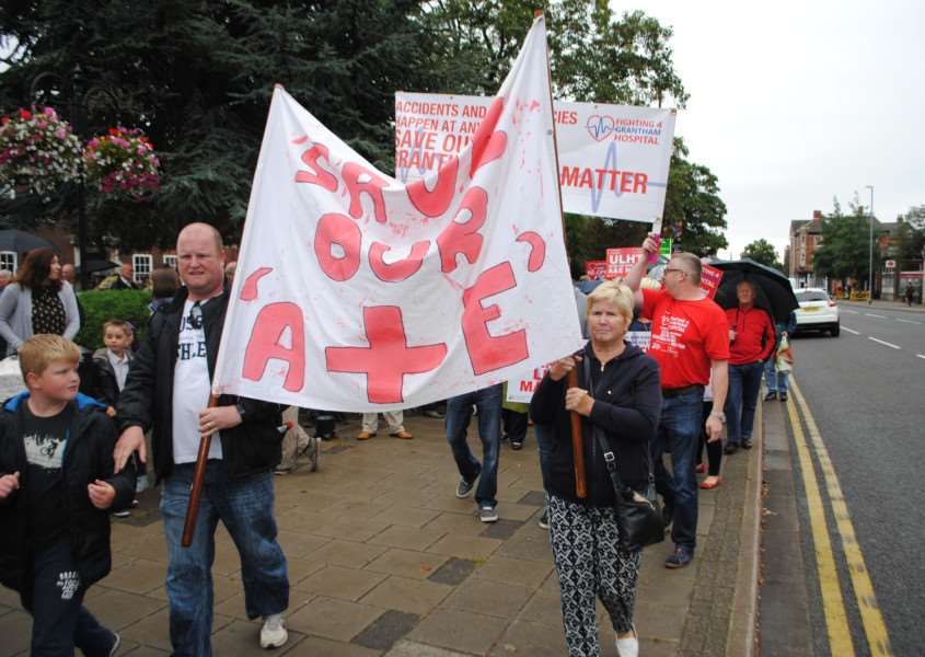 Protest march through Grantham against night-time closure of town's A&E department.