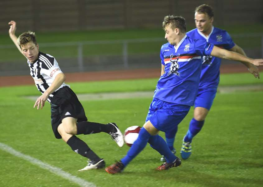 Harry Clifton (left) put in a strong performance for Grantham Town on Tuesday night. Photo: Toby Roberts