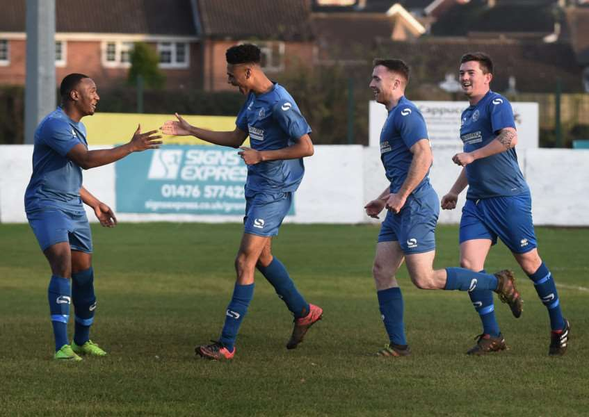 Harrowby United celebrate Jawanza Grant's opening goal on Saturday. Photo: Toby Roberts