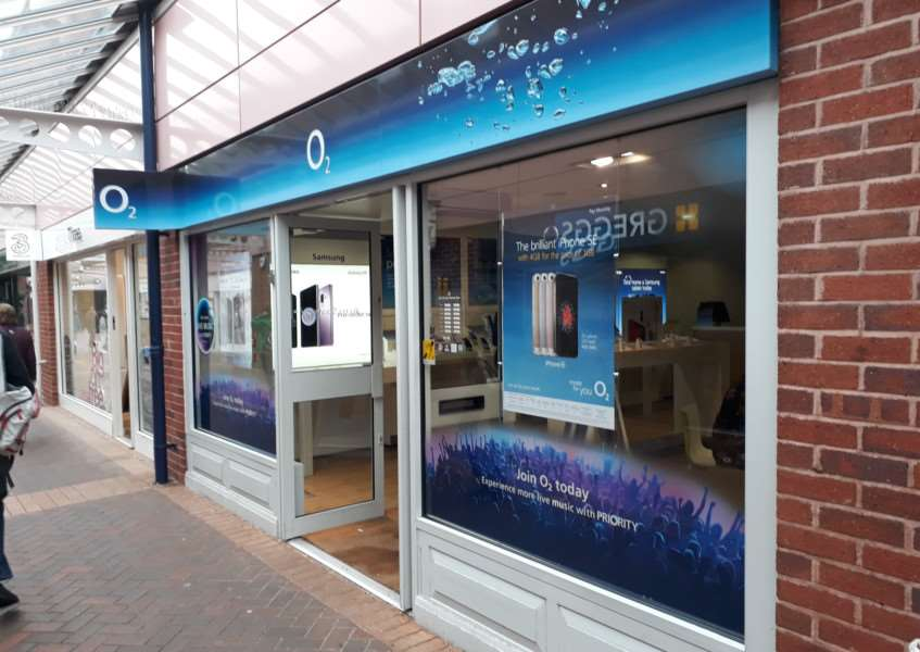 The O2 shop in the Isaac Newton Centre in Grantham.