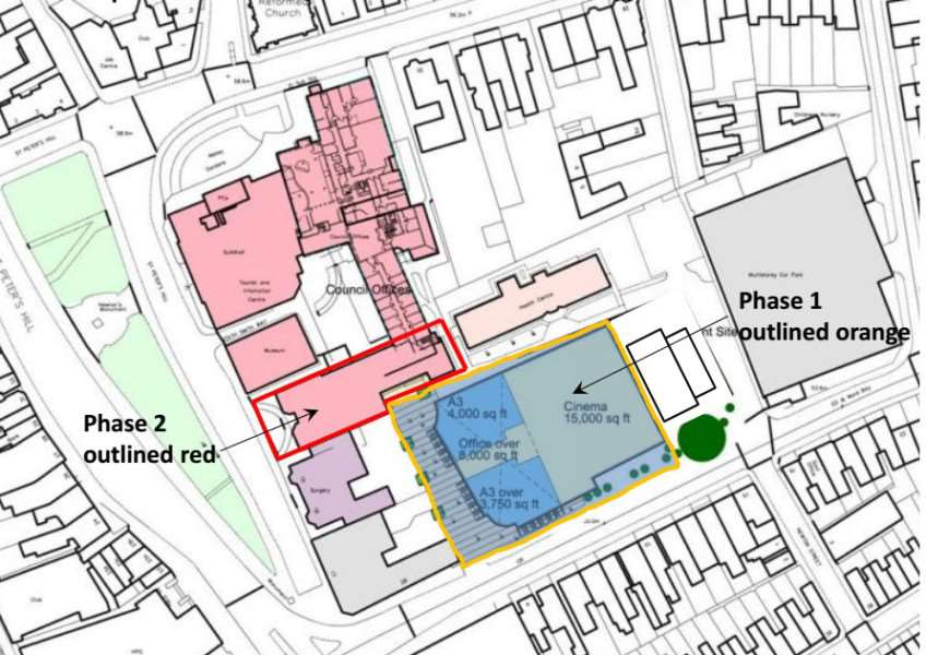 Plan shows the building proposed by SKDC for demolition as part of its vision to create a leisure quarter