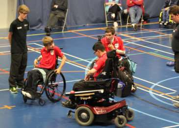 Grantham College student Matthew Annan chosen as official. He is the offical to the left of the picture. Photo courtesy of Boccia England
