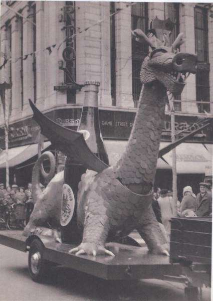 Dragon float created for the Queen's Coronation Parade. Photo courtesy of Terry Shelbourne.