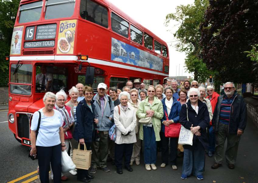 Members of the Grantham Association of the National Trust boarded a vintage Routemaster bus for a tour of historic Nottinghamshire.