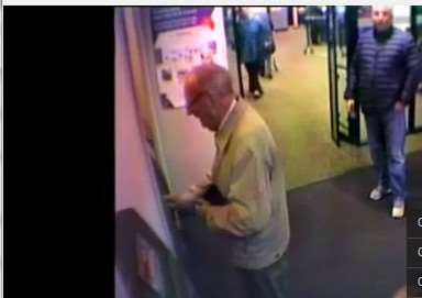 CCTV footage of distraction theft from a 93-year-old war veteran in NatWest, Grantham.
