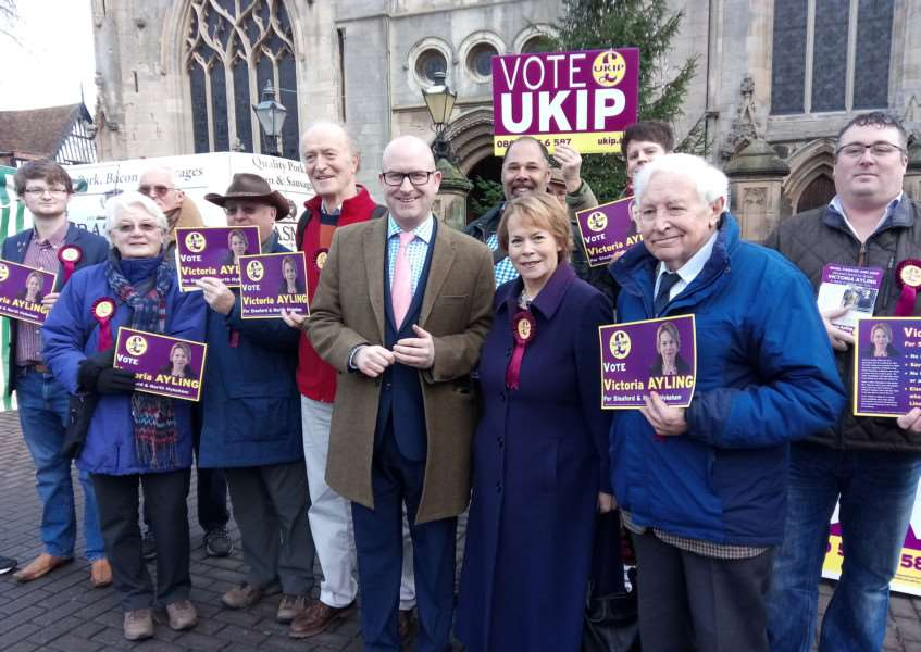UKIP leader Paul Nuttall with candidate Victoria Ayling and UKIP supporters in Sleaford Market Place.