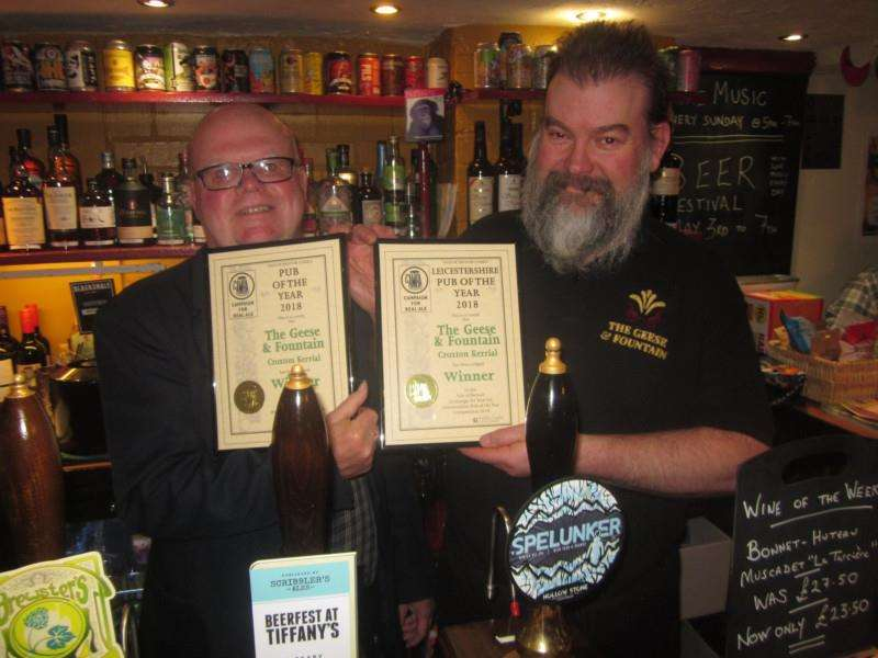 CAMRA chairman Eddie Fendel with Landlord Nick Holden