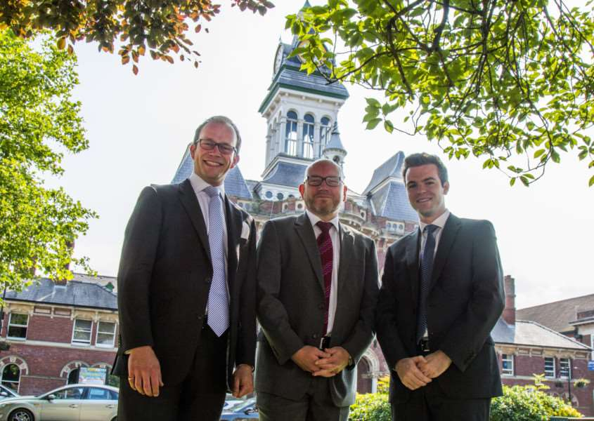 Leader of South Kesteven District Council Coun Matthew Lee, left, and Deputy Leader Coun Kelham Cooke welcome the new Chief Executive Aidan Rave.