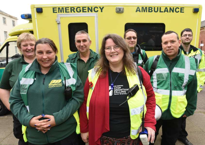Protest march through Grantham to highlight the closure of the A and E Department at Grantham Hospital. Charmaine Morgan with the first aid team EMN-161029-180608009