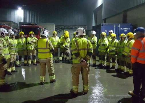 Firefighters take part in the Mid UK exercise.